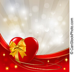 Valentine`s day background. Two red hearts with a ribbon....