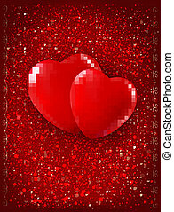Valentine`s day background. Two red hearts on red background. Vector illustration.