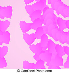 Valentines day background, pink hearts illustration.