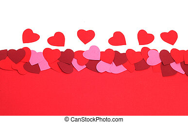 Valentines day background with paper hearts and copy space