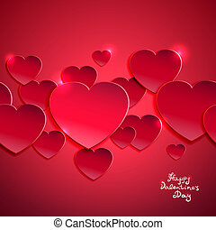 Valentine`s day background vector illustration with red hearts