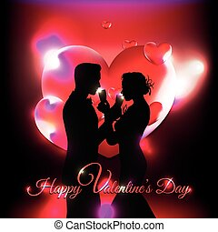 Valentine's Day background with 3d hearts and couple silhouette celebrating love
