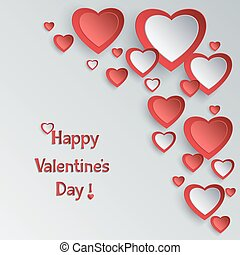 Valentines day background with 3d paper hearts