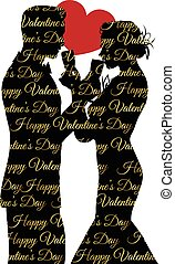 valentines day background with a couple silhouette sharing glass of champagne