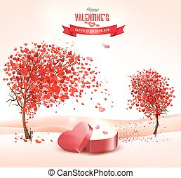 Valentine`s day background with an heart shaped gift box. Vector.
