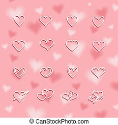 Valentine's day background with beautiful hearts. Vector Illustration