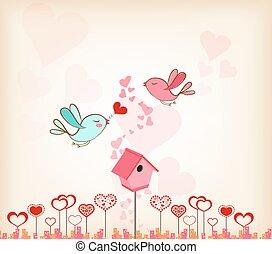 valentines day background with bird