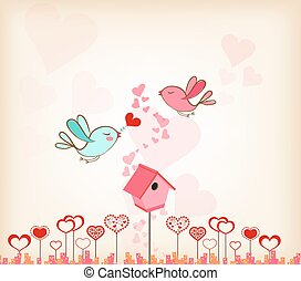 valentines day background with bird