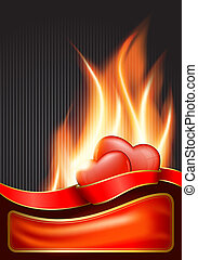 Valentine`s Day background with burning heart . EPS 10