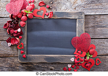 Valentines day background with chalkboard