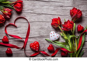 Valentines Day background with chocolates, hearts and red ...