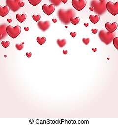 Valentine's day background with flying hearts. Vector...