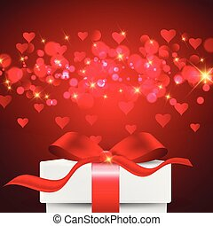 Valentine's Day background with gift box on bokeh lights