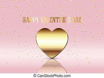 Valentine's Day background with gold heart and confetti