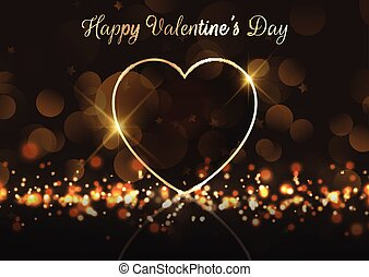 Valentine's Day background with gold heart on bokeh lights