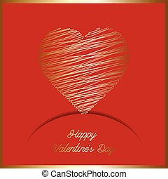 Valentine's Day background with gold scribble heart