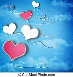 Valentines day background with heart shaped kites in the sky