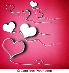 Valentines day background with heart shaped kites