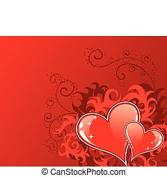 Valentines Day background with hearts and florals