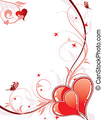 Valentines Day background with hearts and florals -...