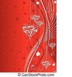 Valentines Day background with Hearts and wave pattern, ...
