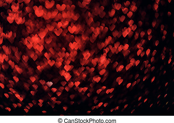 Valentine's day red background on black. Hearts shape bokeh. Overlay layer.