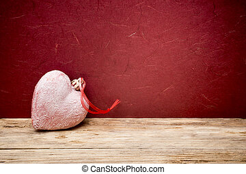 Valentines Day background with hearts. - Heart on a wooden...