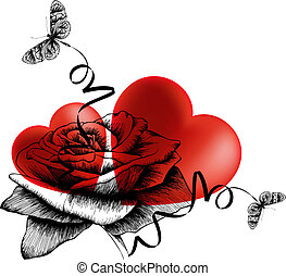 Valentine's Day background with hearts, roses and butterflies. Vector illustration