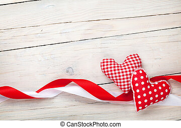 Valentines day background with hearts and ribbons