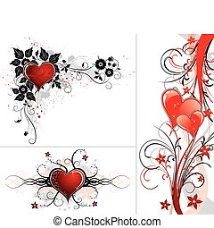 Valentines Day background with hearts and flower -...