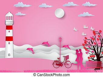 Valentines day background with man and woman in love have...