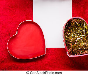 Valentines Day background with paper card on red