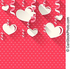 Valentines Day background with paper hearts and serpentine,...