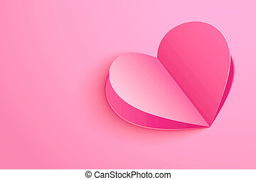 Valentines day background with paper shape hearts on pink pastel.