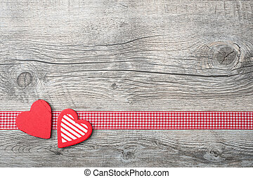 Valentines Day background with patterned hearts on old...