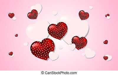 valentines day background with realistic red and white hearts