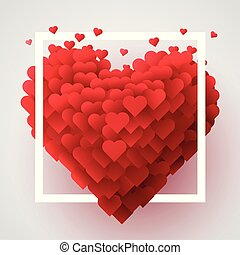 Valentines Day background with red 3d hearts. Cute love banner or greeting card. Place for text. Happy valentines day.