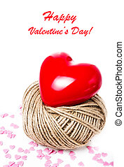 Valentines Day background with Red Heart  on white background cl