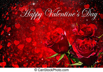 Valentines day background with roses and hearts