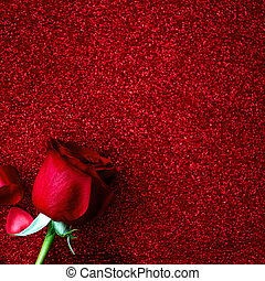 Valentines day Background with roses, ribbon, bow and hearts on glittering red paper with copyspace. Love concept. Flat lay