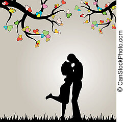 Valentine's day background with silhouette of lovers and hearts.