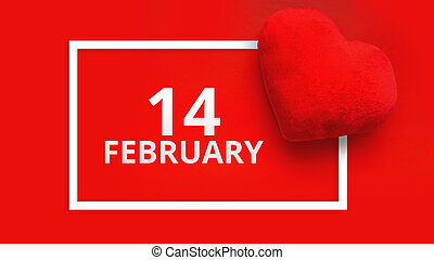 Valentines day background with soft toy heart on red background