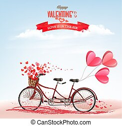 Valentine's Day background with tandem bicycle with red hearts. Concept of love. Vector
