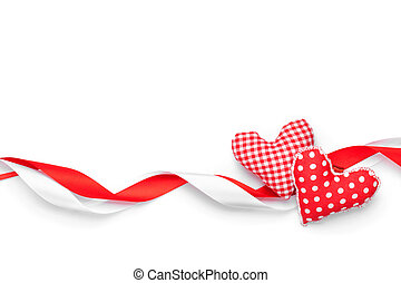 Valentines day background with toy hearts and ribbons -...