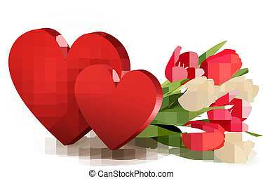 Valentine's day background with two hearts and flowers. Vector.