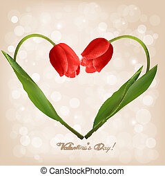 Valentine's day background with two flowers. Vector