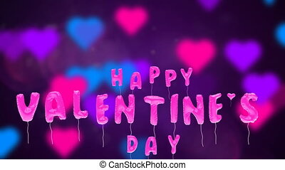 Valentine's day balloons fly on abstract backdrop