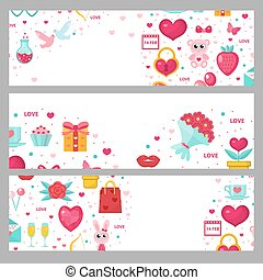 Valentines day banner set. Template with space for text. Love, romance horizontal border. Vector illustration.