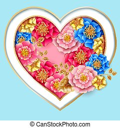 Valentines day banner with beautiful colorful flowers and heart.