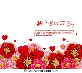 Valentines day banner with beautiful colorful flowers and hearts